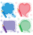 Speech bubbles and pencils vector image