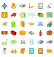 storage icons set cartoon style vector image vector image