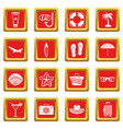 summer rest icons set red vector image vector image