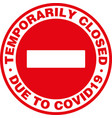 temporarily closed signage or door sticker vector image vector image