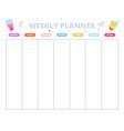 weekly planning template week schedule school vector image vector image