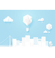 white mocup urban landscape and hot air balloons vector image vector image