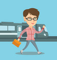 young woman walking on a railway station platform vector image vector image