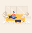 young woman working with laptop from home vector image vector image