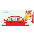 Orders fast food from the car vector image