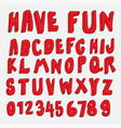 hand drawn 3d cartoon font collection vector image