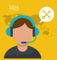 call center man microphone earphones vector image vector image