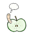cartoon apple with worm with thought bubble vector image vector image