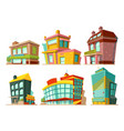 cartoon buildings set vector image vector image