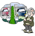 cartoon of a happy old man compares the car with vector image vector image