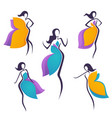 collection girls look like a bright flowers or vector image vector image