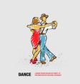 couple dancing foxtrot outline dance vector image vector image