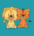cute and little lion and tiger characters vector image vector image