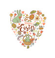 cute easter festive banner vector image
