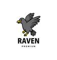 cute raven cartoon logo icon vector image vector image
