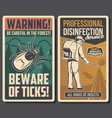 disinfection service tick bite prevention banners vector image vector image