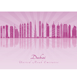Dubai V2 skyline in purple radiant orchid vector image