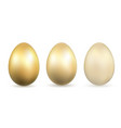 easter egg 3d icons gold eggs set isolated white vector image vector image