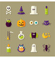 Flat Magic Halloween Witch Objects Set with Shadow vector image vector image