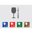 Glass and fork icons vector image vector image