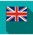 Great Britain flag with flagpole icon flat style vector image vector image