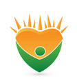 green healthy man and bright sun logo vector image vector image