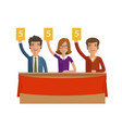 group of judges jury people hold up scorecards vector image vector image