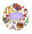 hand drawn birthday elements round concept vector image vector image