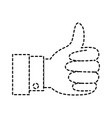 hand thumb up icon in monochrome dotted silhouette vector image vector image