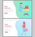 happy motherhood mom and bain pram website vector image vector image
