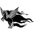 horse with wing tattoo vector image