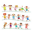 joyful little kids for a walk vector image