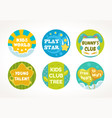 kids buttons and labels design round cute pins vector image