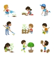 Kids Gardening Collection vector image vector image
