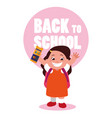little student girl with school colors pencils vector image