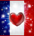 love france flag heart background vector image vector image