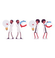 male and female black scientist and giant things vector image