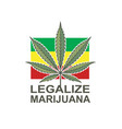 marijuana leaf on rastafarian flag vector image