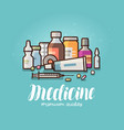 modern medicine pharmacy banner medication vector image vector image