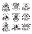 native american indians emblems isolated on white vector image vector image