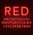 neon glowing red 3d letters and numbers vector image vector image