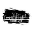 portland oregon city skyline silhouette hand vector image vector image
