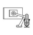 radio microphone retro with desktop vector image vector image