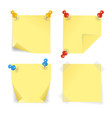realistic 3d detailed color pins and yellow papers vector image vector image