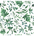 realistic plants pattern seamless leaves vector image vector image