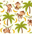Seamless pattern with monkey on palm tree vector image