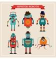 set cute retro vintage hipster robots vector image