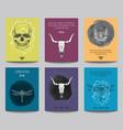 set modern posters with human skulls bull vector image vector image