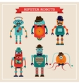 Set of cute retro vintage hipster robots vector image vector image