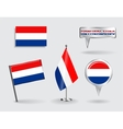 Set of Dutch pin icon and map pointer flags vector image